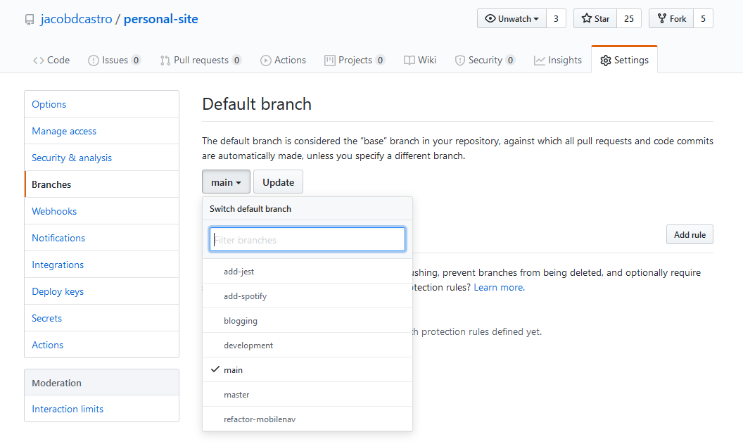 Screenshot of changing default branch in Github settings